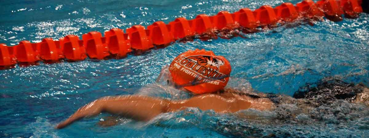 Fighting tiger swimmer