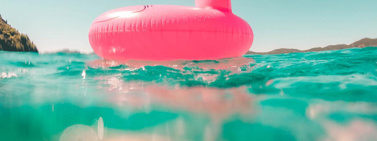 pink float in blue water