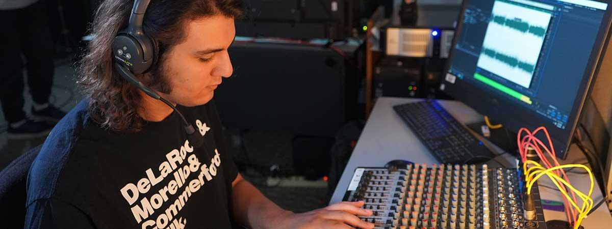 student working in tv studio