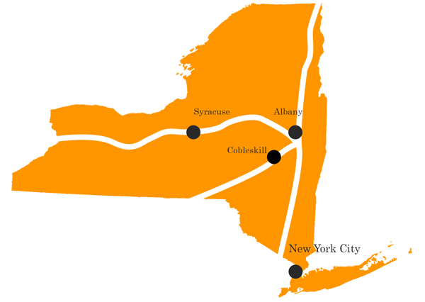 map of NYS with Cobleskill starred