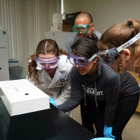 students working in the science lab