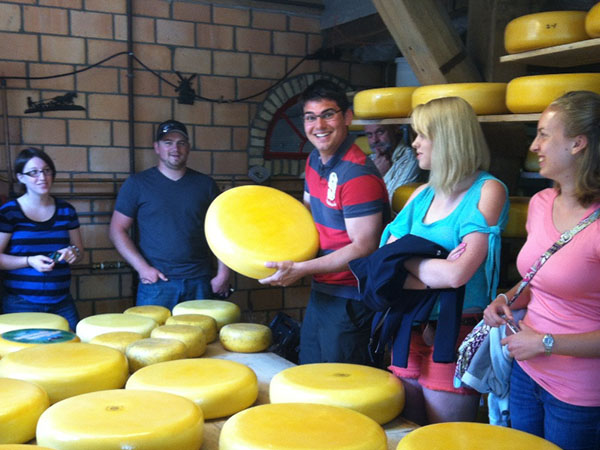 Horticulture students visit a cheese factory during a summer faculty-led program to the Netherlands.