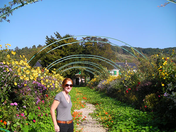 Julia Millea during her summer horticulture internship at Monet Gardens in France