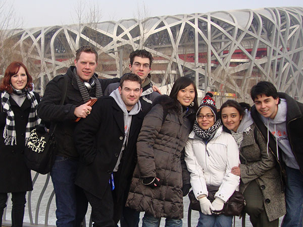 SUNY Cobleskill students at the Bird's Nest, Olympic Park, Beijing, China