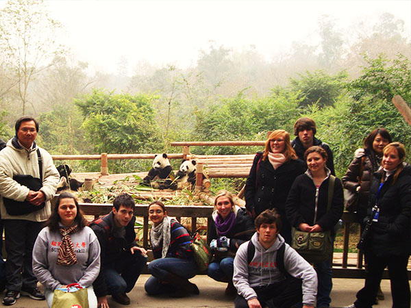 SUNY Cobleskill students with Prof. ZJ at panda research center in China