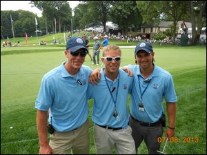 SUNY Cobleskill student Sean Nolan, center, is interning at the PGA Championship at Oak Hill Country Club in suburban Rochester, where he is working with Cobleskill graduates Ken Gregory, left, and Sean Charles.