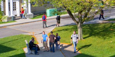 the old quad with students walking on the path