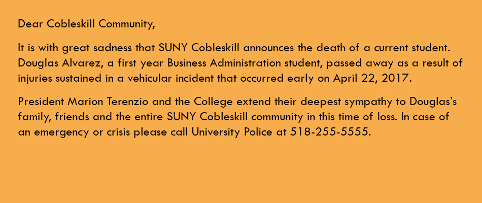 Announcement to Cobleskill Community