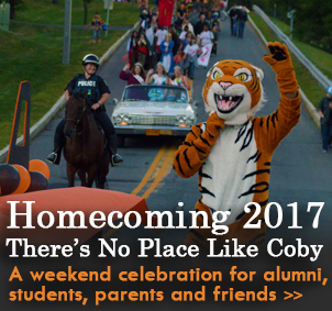 Coby Tiger, the mascot waves at the front of the homecoming parade. Homecoming 2017 is a celebration for alumni, students, family and friends.